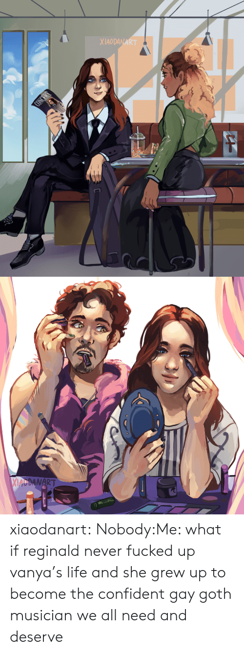 Life, Tumblr, and Blog: XIAODANA   MANART xiaodanart:  Nobody:Me: what if reginald never fucked up vanya's life and she grew up to become the confident gay goth musician we all need and deserve