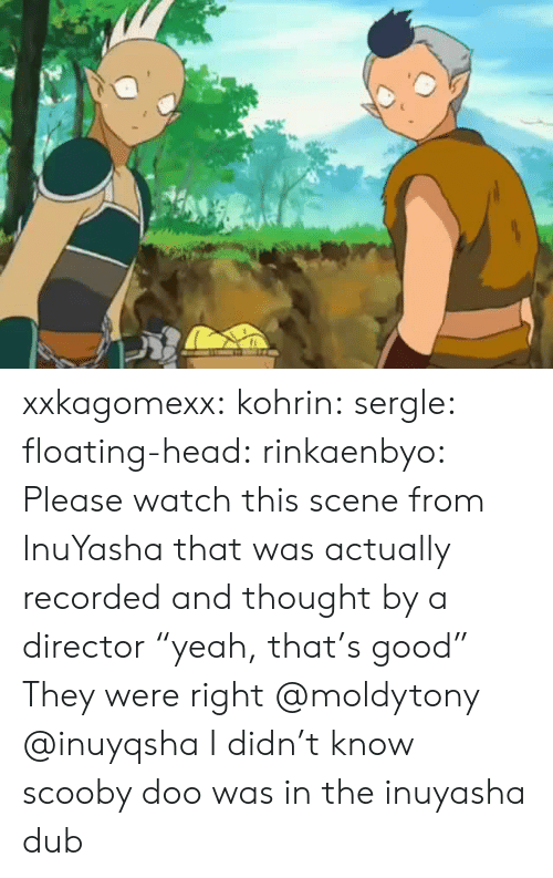 """Watch This: xxkagomexx:  kohrin: sergle:  floating-head:  rinkaenbyo:  Please watch this scene from InuYasha that was actually recorded and thought by a director """"yeah, that's good""""  They were right  @moldytony   @inuyqsha    I didn't know scooby doo was in the inuyasha dub"""