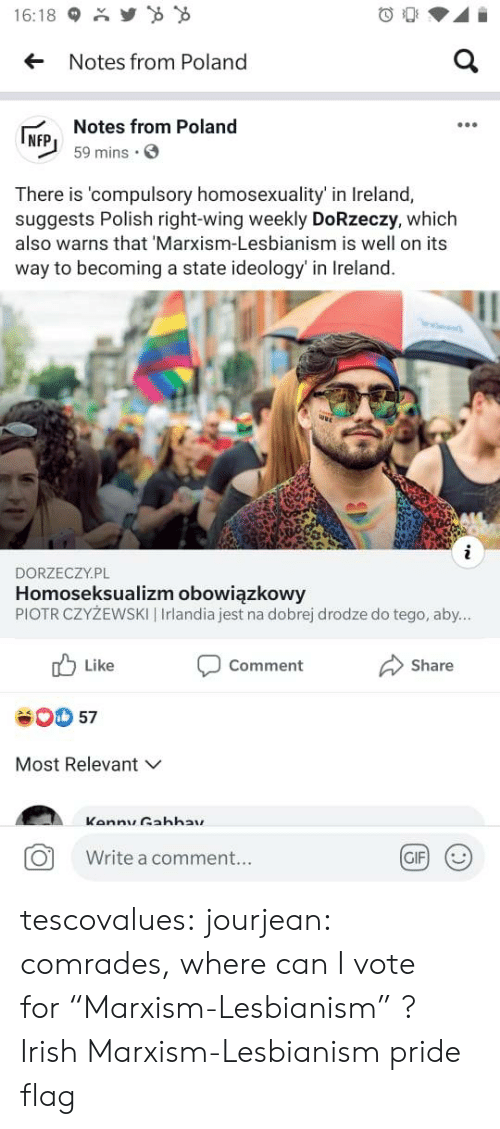 "Irish: Y  16:18  a  Notes from Poland  Notes from Poland  NFP  59 mins  There is 'compulsory homosexuality' in Ireland,  suggests Polish right-wing weekly DoRzeczy, which  also warns that 'Marxism-Lesbianism is well on its  way to becoming a state ideology' in Ireland.  i  DORZECZY.PL  Homoseksualizm obowiązkowy  PIOTR CZYŻEWSKI | Irlandia jest na dobrej drodze do tego, aby...  Like  Comment  Share  57  Most Relevant  Kannu Gahhay  GIF  Write a comment... tescovalues: jourjean: comrades, where can I vote for ""Marxism-Lesbianism"" ?  Irish Marxism-Lesbianism pride flag"