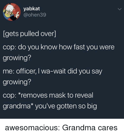 Grandma, Tumblr, and Blog: yabkat  @ohen39  [gets pulled over]  cop: do you know how fast you were  growing?  me: officer, I wa-wait did you say  growing?  cop: *removes mask to reveal  grandma* you've gotten so big awesomacious:  Grandma cares