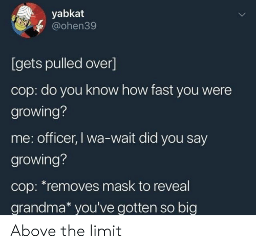 Pulled Over: yabkat  @ohen39  [gets pulled over]  cop: do you know how fast you were  growing?  me: officer, I wa-wait did you say  growing?  cop: *removes mask to reveal  grandma* you've gotten so big Above the limit