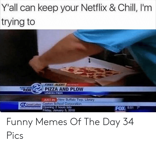 Chill, Friday, and Funny: Y'all can keep your Netflix & Chill, I'm  trying to  FIRST ALERTWEASHER  PIZZA AND PLOW  RSSTACWS  FOX  UNION PIER  JOST IN New Buffalo Twp. Library  GT GreatLakes Caston School Corporation  Opening 2 hours late  Friday, January 5, 2018  FOX 8:51 Funny Memes Of The Day 34 Pics