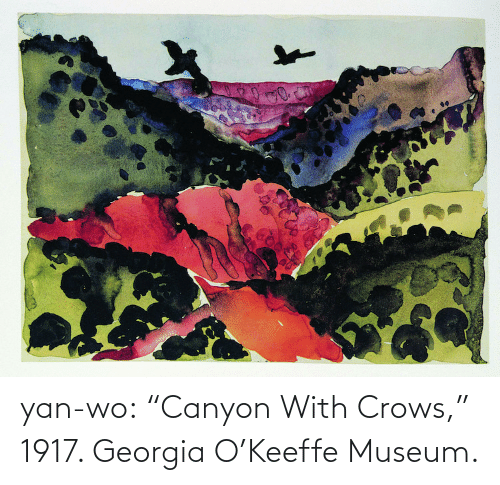 "Georgia: yan-wo: ""Canyon With Crows,"" 1917. Georgia O'Keeffe Museum."