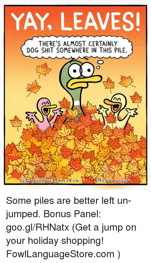 Memes, Shit, and Shopping: YAY, LEAVES  THERE'S ALMOST CERTAINLY  DOG SHIT SOMEWHERE IN THIS PILE.  Colmic&comOsrian Gordon Some piles are better left un-jumped. Bonus Panel: goo.gl/RHNatx (Get a jump on your holiday shopping! FowlLanguageStore.com )