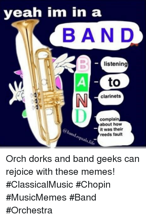 dorks: yeah im in a  BAND  listening  to  clarinets  complain  about how  it was their  reeds fault Orch dorks and band geeks can rejoice with these memes! #ClassicalMusic #Chopin #MusicMemes #Band #Orchestra