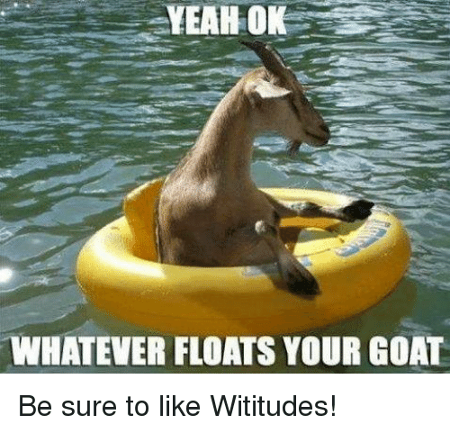 Dank, Yeah, and Goat: YEAH OK  WHATEVER FLOATS YOUR GOAT Be sure to like Wititudes!