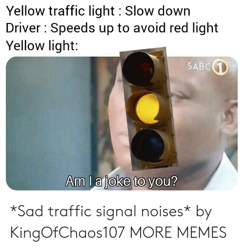 slow down: Yellow traffic light Slow down  Driver Speeds up to avoid red light  Yellow light:  SABC  Am la joke to you? *Sad traffic signal noises* by KingOfChaos107 MORE MEMES