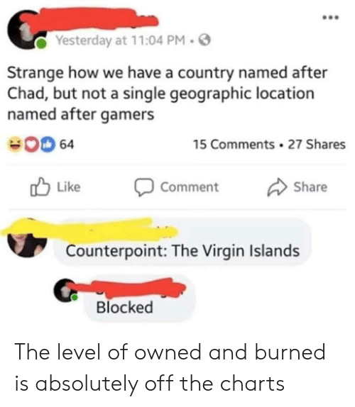Geographic: Yesterday at 11:04 PM.  Strange how we have a country named after  Chad, but not a single geographic location  named after gamers  00 64  15 Comments 27 Shares  Like Comment Share  Counterpoint: The Virgin Islands  Blocked The level of owned and burned is absolutely off the charts