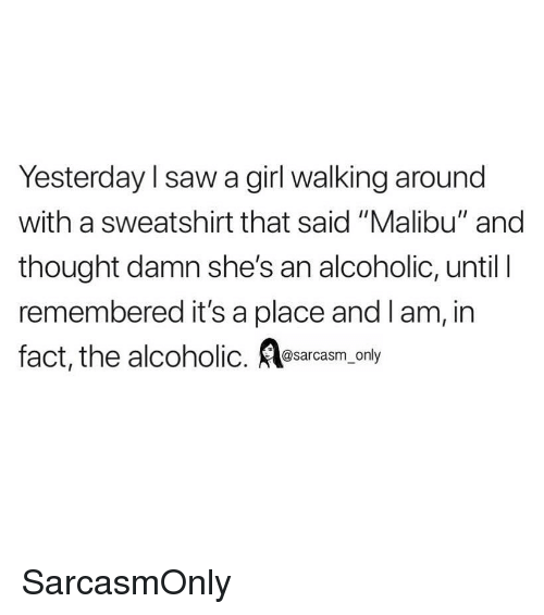 "malibu: Yesterday l saw a girl walking around  with a sweatshirt that said ""Malibu"" and  thought damn she's an alcoholic, until I  remembered it's a place and lam, in  fact, the alcoholic. esarcasm only SarcasmOnly"