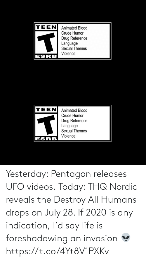 Drops: Yesterday: Pentagon releases UFO videos.  Today: THQ Nordic reveals the Destroy All Humans drops on July 28.   If 2020 is any indication, I'd say life is foreshadowing an invasion 👽 https://t.co/4Yt8V1PXKv