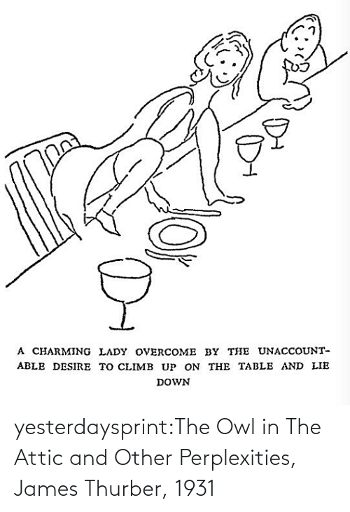 owl: yesterdaysprint:The Owl in The Attic and Other Perplexities, James Thurber, 1931