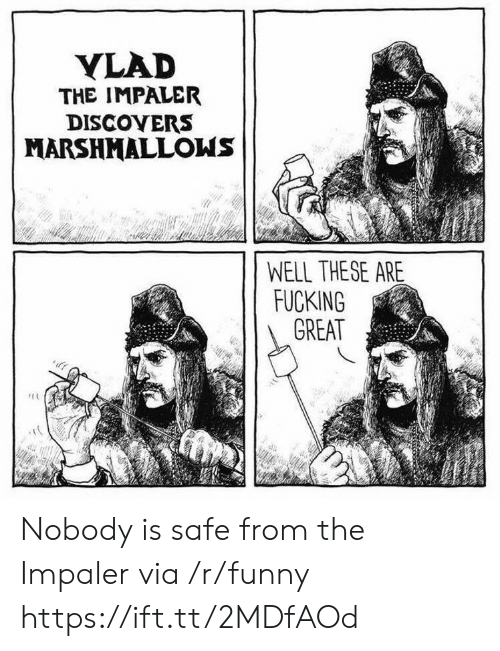 Fucking, Funny, and Via: YLAD  THE IMPALER  DISCOYERS  MARSHMALLOWS  WELL THESE ARE  FUCKING  GREAT Nobody is safe from the Impaler via /r/funny https://ift.tt/2MDfAOd