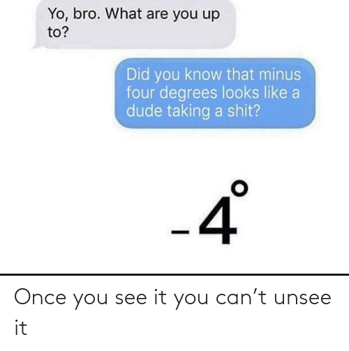 Once You See It: Yo, bro. What are you up  to?  Did you know that minus  four degrees looks like a  dude taking a shit?  °  -4 Once you see it you can't unsee it