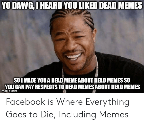 How Do You Say Meme: YO DAWG,I HEARD YOU LIKED DEAD MEMES  SOI MADE YOUA DEAD MEMEABOUT DEAD MEMES SO  YOU CAN PAY RESPECTS TO DEAD MEMES ABOUT DEAD MEMES  imgflip.com Facebook is Where Everything Goes to Die, Including Memes
