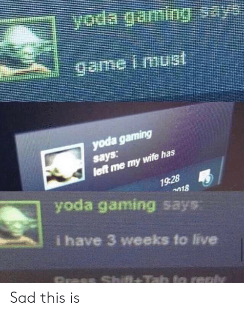 Yoda, Live, and Wife: yoda gaming  says  wife has  19:28  n18  yoda gaming says  i have 3 weeks to live Sad this is