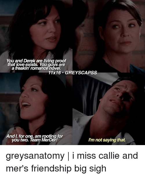 Proofs: You and Derek are living proof  that love exists. You are  a freakin' romancenovel.  11x16 GREY SCAPSS  And for one, am rooting for  you two. Team MerDer!  I'm not saying that. greysanatomy | i miss callie and mer's friendship big sigh