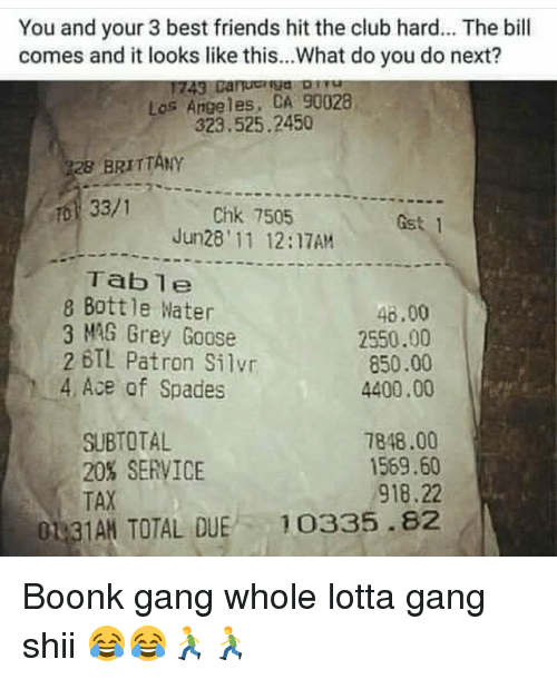Hitted: You and your 3 best friends hit the club hard... The bill  comes and it looks like this...What do you do next?  Los Angeles, CA 90028  323.525.2450  BRITTANY  33/1  Chk 7505  Jun28' 11 12:17AM  Gst 1  Table  8 Bottle Water  3 MAG Grey Goose  46.00  2550.00  850.00  4400.00  2 BTL Patron Silvr  4 Ace of Spades  SUBTOTAL  20% SERVICE  TAX  7848.00  1569.60  918.22  01 3  TAN TOTAL QUE 10335.82 Boonk gang whole lotta gang shii 😂😂🏃🏃