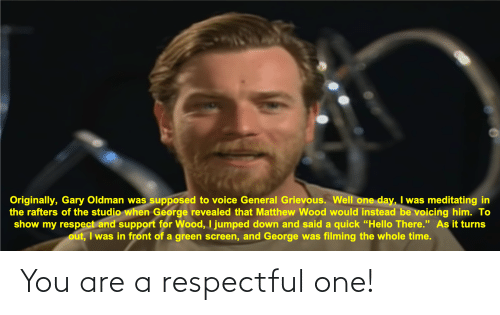 respectful: You are a respectful one!