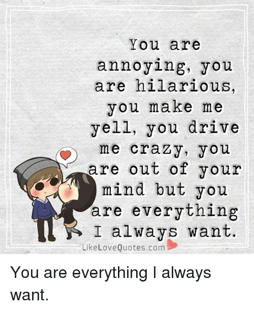 You Are Annoying You Are Hilarious You Make Me Yell You ...
