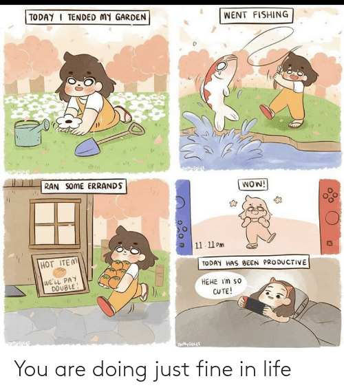 fine: You are doing just fine in life