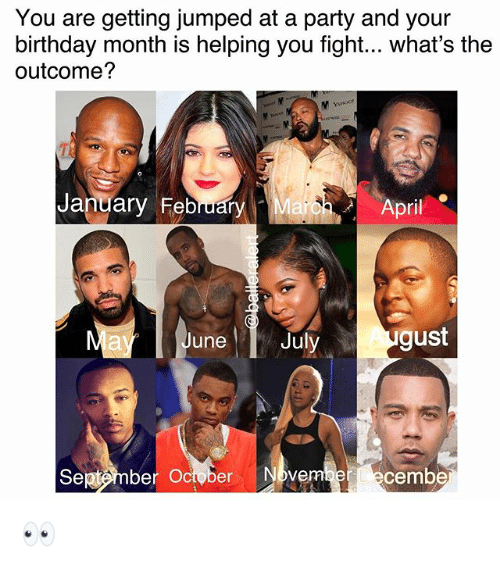 Birthday Month: You are getting jumped at a party and your  birthday month is helping you fight... what's the  outcome?  January February  arbh- April  June  Juy gust  Sej«tmber October Nbvem  ecembe 👀