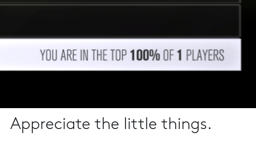 top 100: YOU ARE IN THE TOP 100% OF 1 PLAYERS Appreciate the little things.