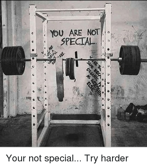 Try Harder: YOU ARE NOT  SPECIAL Your not special... Try harder