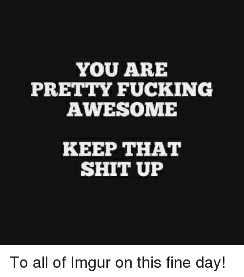 fucking awesome: YOU ARE  PRETTY FUCKING  AWESOME  KEEP THAT  SHIT UP To all of Imgur on this fine day!