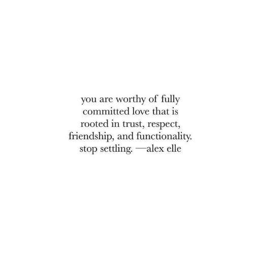 functionality: you are worthy of fully  committed love that is  rooted in trust, respect,  friendship, and functionality.  stop settling.-alex elle
