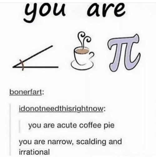 Coffee: you are  you  Tt  bonerfart:  idonotneedthisrightnow:  you are acute coffee pie  you are narrow, scalding and  irrational