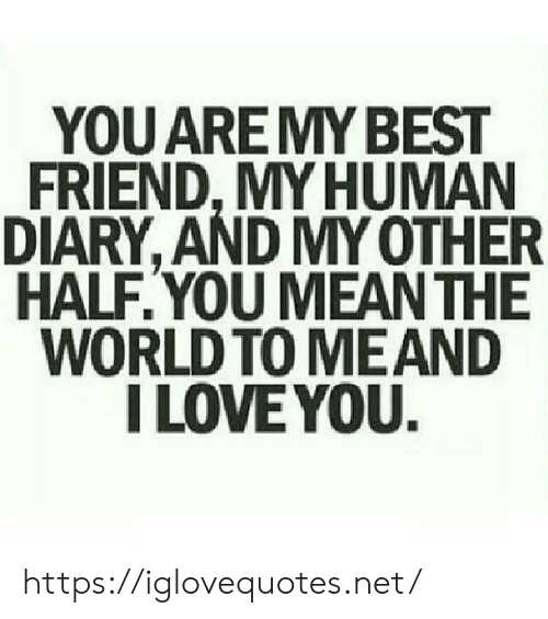 Diary: YOU AREMY BEST  FRIEND, MY HUMAN  DIARY, AND MY OTHER  HALF.YOU MEAN THE  WORLD TO MEAND  I LOVE YOU. https://iglovequotes.net/