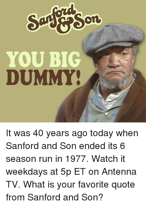 antenna: YOU BIG  DUMMY It was 40 years ago today when Sanford and Son ended its 6 season run in 1977. Watch it weekdays at 5p ET on Antenna TV.  What is your favorite quote from Sanford and Son?