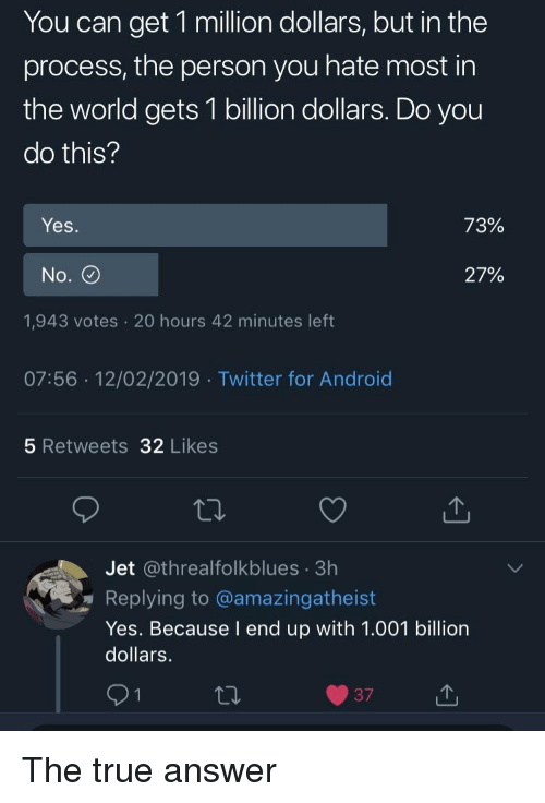 Android, True, and Twitter: You can get 1 million dollars, but in the  process, the person you hate most in  the world gets 1 billion dollars. Do you  do this?  Yes  72%  No.  27%  1,943 votes 20 hours 42 minutes left  07:56 12/02/2019 Twitter for Android  5 Retweets 32 Likes  Jet @threalfolkblues 3h  Replying to @amazingatheist  Yes. Because I end up with 1.001 billion  dollars.  371 The true answer