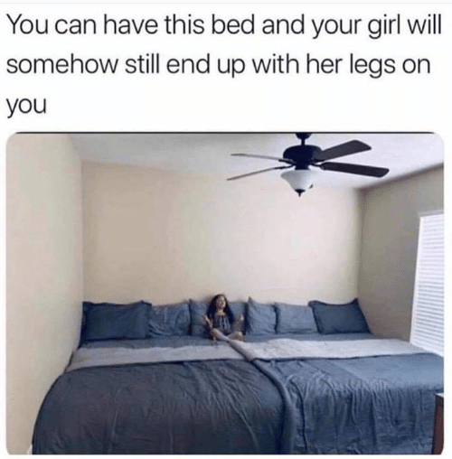 Relationships, Girl, and Your Girl: You can have this bed and your girl will  somehow still end up with her legs on  you
