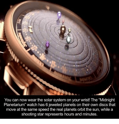 """Shootting Star: You can now wear the solar system on your wrist! The """"Midnight  Planetarium"""" watch has 6 jeweled planets on their own discs that  move at the same speed the real planets orbit the sun, while a  shooting star represents hours and minutes."""