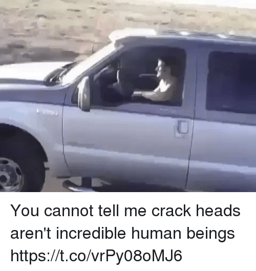 Hood, Human, and Crack: You cannot tell me crack heads aren't incredible human beings https://t.co/vrPy08oMJ6