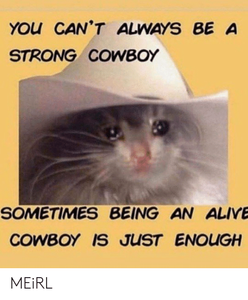 Alive, Cowboy, and Strong: YOu CAN'T ALWAYS BE A  STRONG COWBOY  SOMETIMES BEING AN ALIVE  COWBOY IS JUST ENOUGH MEiRL