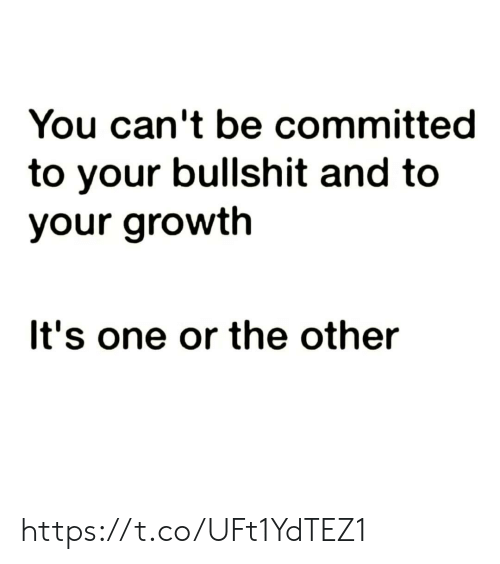 Memes, Bullshit, and 🤖: You can't be committed  to your bullshit and to  your growth  It's one or the other https://t.co/UFt1YdTEZ1