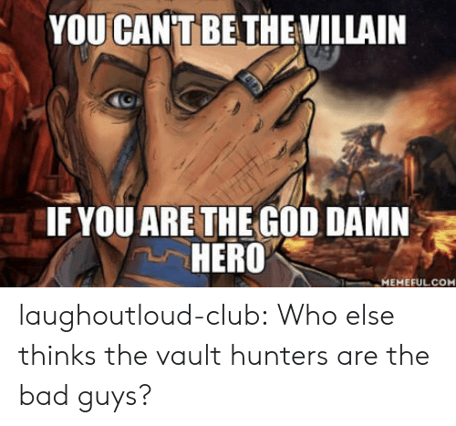 the vault: YOU CAN'T BETHE VILLAIN  IFYOU ARE THE GOD DAMN  HERO  MEMEFULCO laughoutloud-club:  Who else thinks the vault hunters are the bad guys?