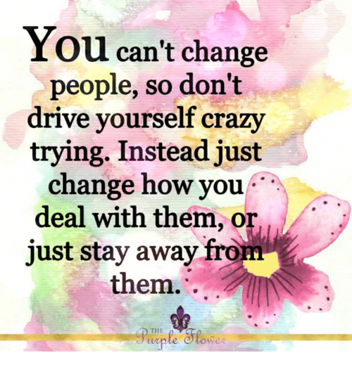 Crazy, Memes, and Drive: You can't change  people, so don't  drive vourself crazy  trying. Instead just  change how you  deal with them, or.  just stay away from  them. .  THE  ONR