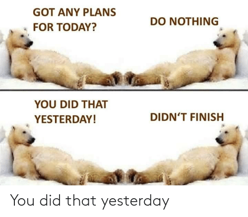 You Did: You did that yesterday
