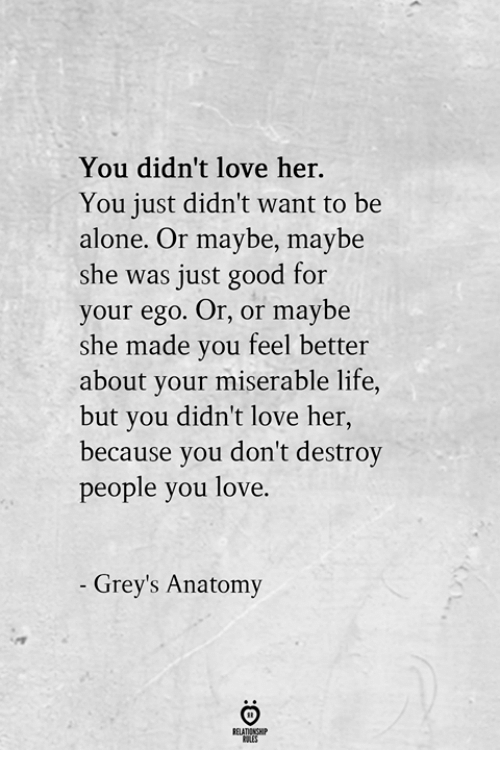 Being Alone, Life, and Love: You didn't love her.  You just didn't want to be  alone. Or maybe, maybe  she was just good for  your ego. Or, or maybe  she made you feel better  about your miserable life,  but you didn't love her,  because you don't destroy  people you love  Grey's Anatomy