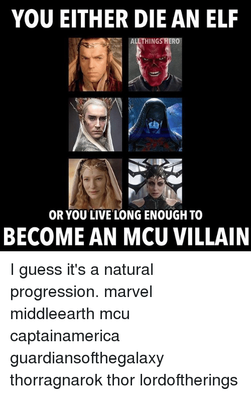 Elf, Memes, and Guess: YOU EITHER DIE AN ELF  ALLTHINGS HERO  OR YOU LIVE LONG ENOUGH TO  BECOME AN MCU VILLAIN I guess it's a natural progression. marvel middleearth mcu captainamerica guardiansofthegalaxy thorragnarok thor lordoftherings