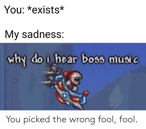 Exists: You: *exists*  My sadness:  why do i hear boss music You picked the wrong fool, fool.