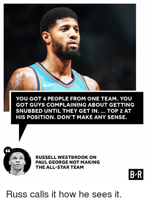 All Star, Russell Westbrook, and Paul George: YOU GOT 4 PEOPLE FROM ONE TEAM. YOU  GOT GUYS COMPLAINING ABOUT GETTING  SNUBBED UNTIL THEY GET IN.... TOP 2 AT  HIS POSITION. DON'T MAKE ANY SENSE  RUSSELL WESTBROOK ON  PAUL GEORGE NOT MAKING  THE ALL-STAR TEAM  B R Russ calls it how he sees it.