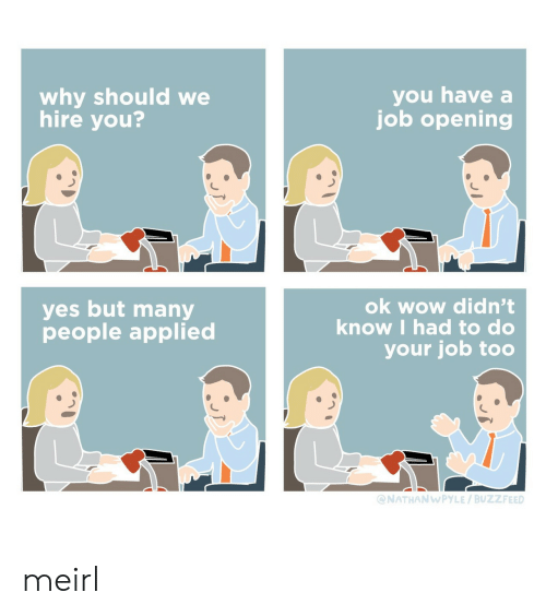 Wow, Buzzfeed, and MeIRL: you have a  job opening  why should we  hire you?  ok wow didn't  know I had to do  yes but many  people applied  your job too  @NATHANWPYLE / BUZZFEED meirl