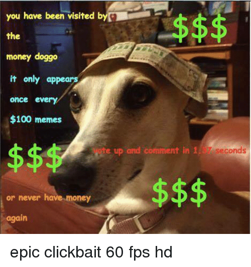 100 Memes: you have been visited b  the  money doggo  it only appears  once every  $100 memes  ete sp and cmmnt  37.seconds  7 seconds  or never have money  again <p>epic clickbait 60 fps hd</p>