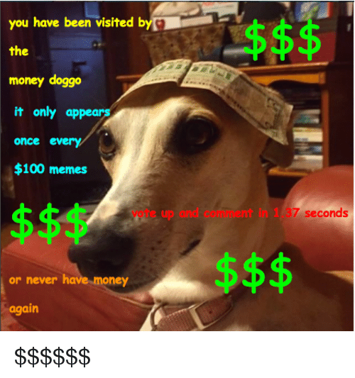 100 Memes: you have been visited b  the  money doggo  it only appears  once every  $100 memes  vote up and comment in 1.37 seconds  or never have  money  again <p>$$$$$$</p>