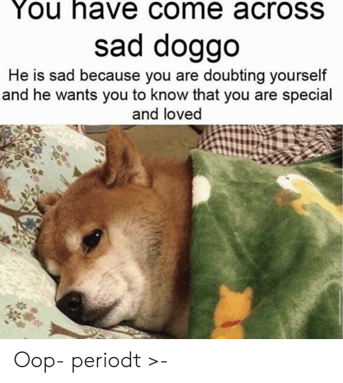 oop: You have come acroSS  sad doggo  He is sad because you are doubting yourself  and he wants you to know that you are special  and loved Oop- periodt >-