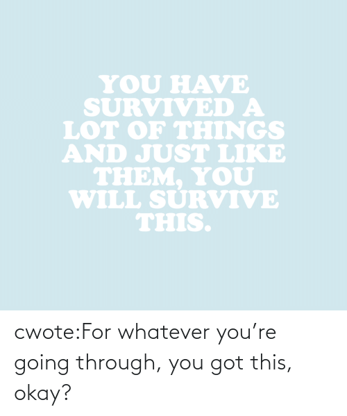 Going Through: YOU HAVE  SURVIVED A  LOT oF THINGS  AND JUST LIKE  THEM. YoU  WILL SURVIVE  THIS. cwote:For whatever you're going through, you got this, okay?